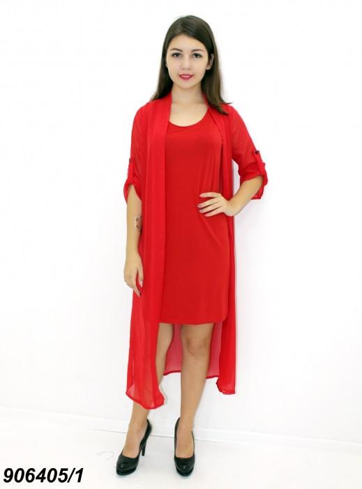 Комплект платье с кардиганом красное 42 44 46