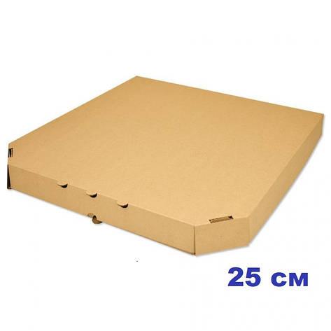 Коробка для пиццы, 25 см бурая, 250*250*35, мм, фото 2