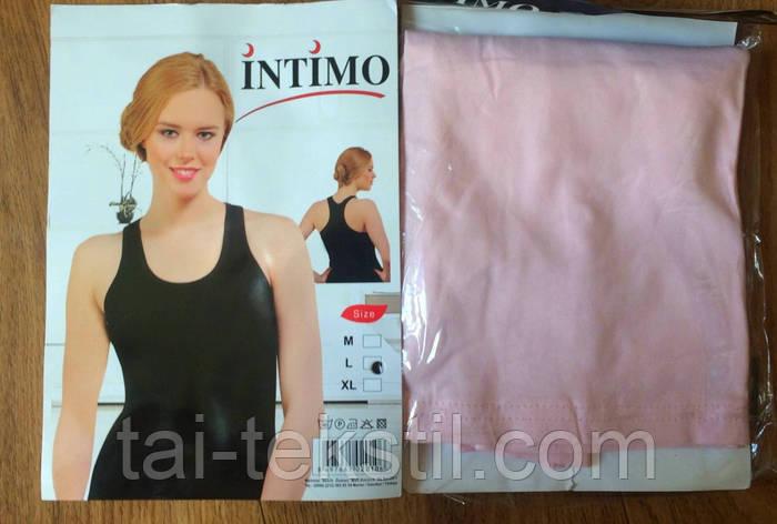Женская однотонная майка-борцовка розовый хлопок Турция INTIMO, фото 2