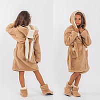 """Детский махровый халат с сапожками бежевого цвета """"Зайка"""", фото 1"""
