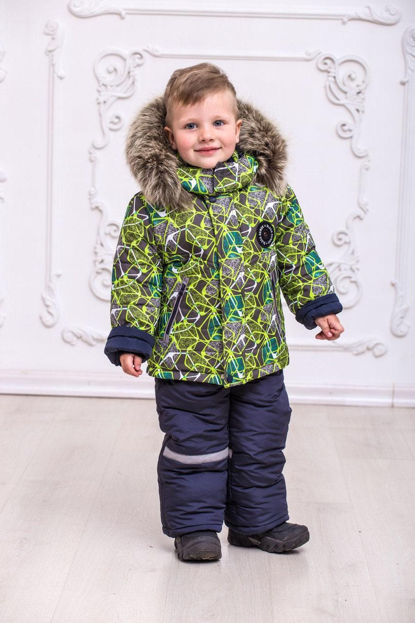 Дитячий зимовий комбінезон для хлопчиків від виробника 22-28 зелений