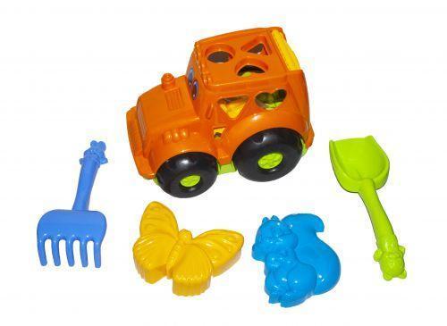 """Сортер-трактор """"Кузнечик"""" №2 (оранжевый) с песочным набором"""