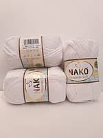 Детская гипоаллергенная пряжа Nako Hosgeldin Soft 208 белый (Нако Хосгелдин Софт)
