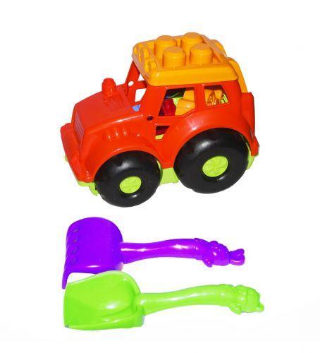 Трактор Кузнечик №1, красный  с граблями и лопаткой 0206