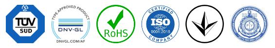 Сертификаты и соответствия TUV, DNV GL, RoHS, ISO 9001:2015, УкрСепро, Украинский морской регистр
