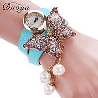 Наручные женские часы-браслет с бабочкой, стразы и камни