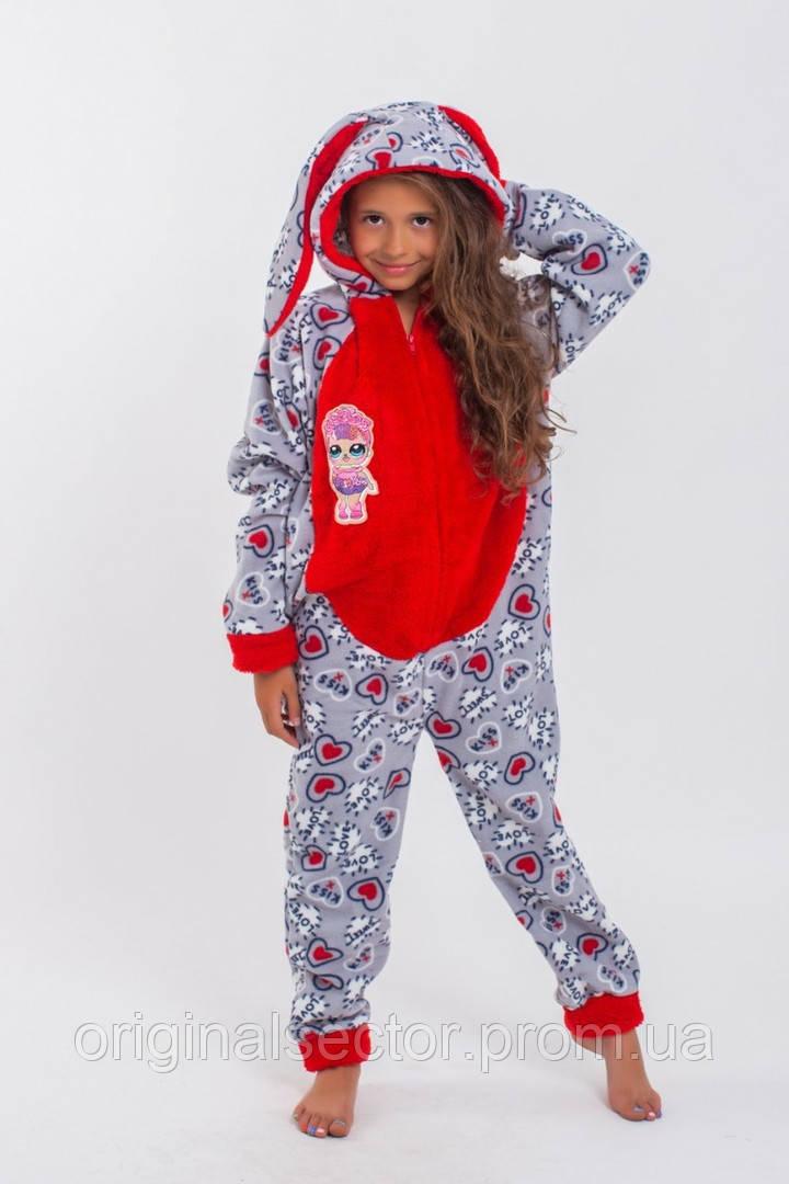 Детская цельная пижама с ушками