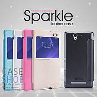 Кожаный чехол Nillkin Sparkle Series для Sony Xperia C3 Dual D2502 (КНИЖКА)