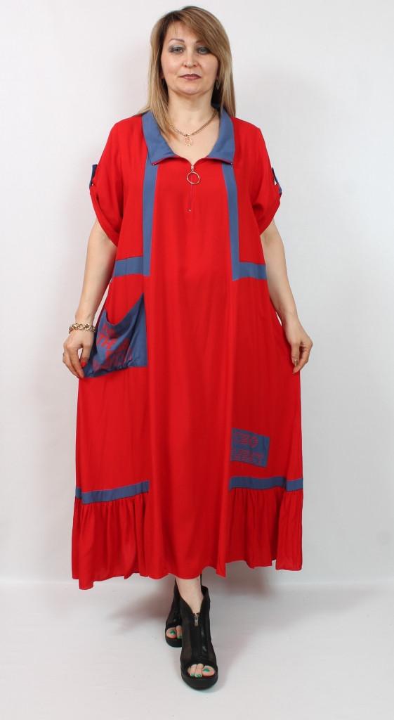 Турецкое летнее красное длинное платье больших размеров 54-66