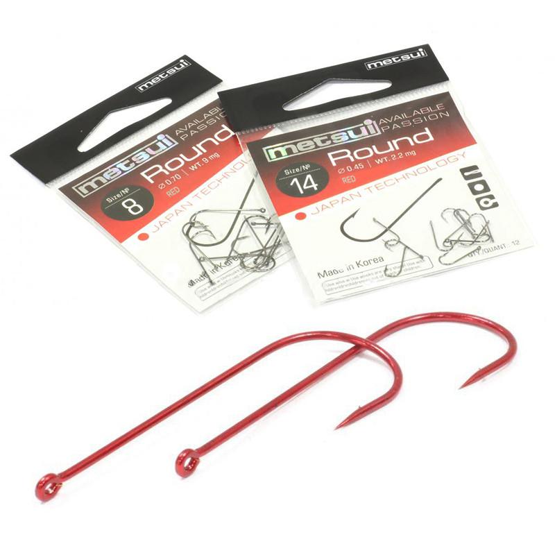 Крючки Metsui ROUND цвет red, размер № 8, в уп. 12 шт. (8803720032434)