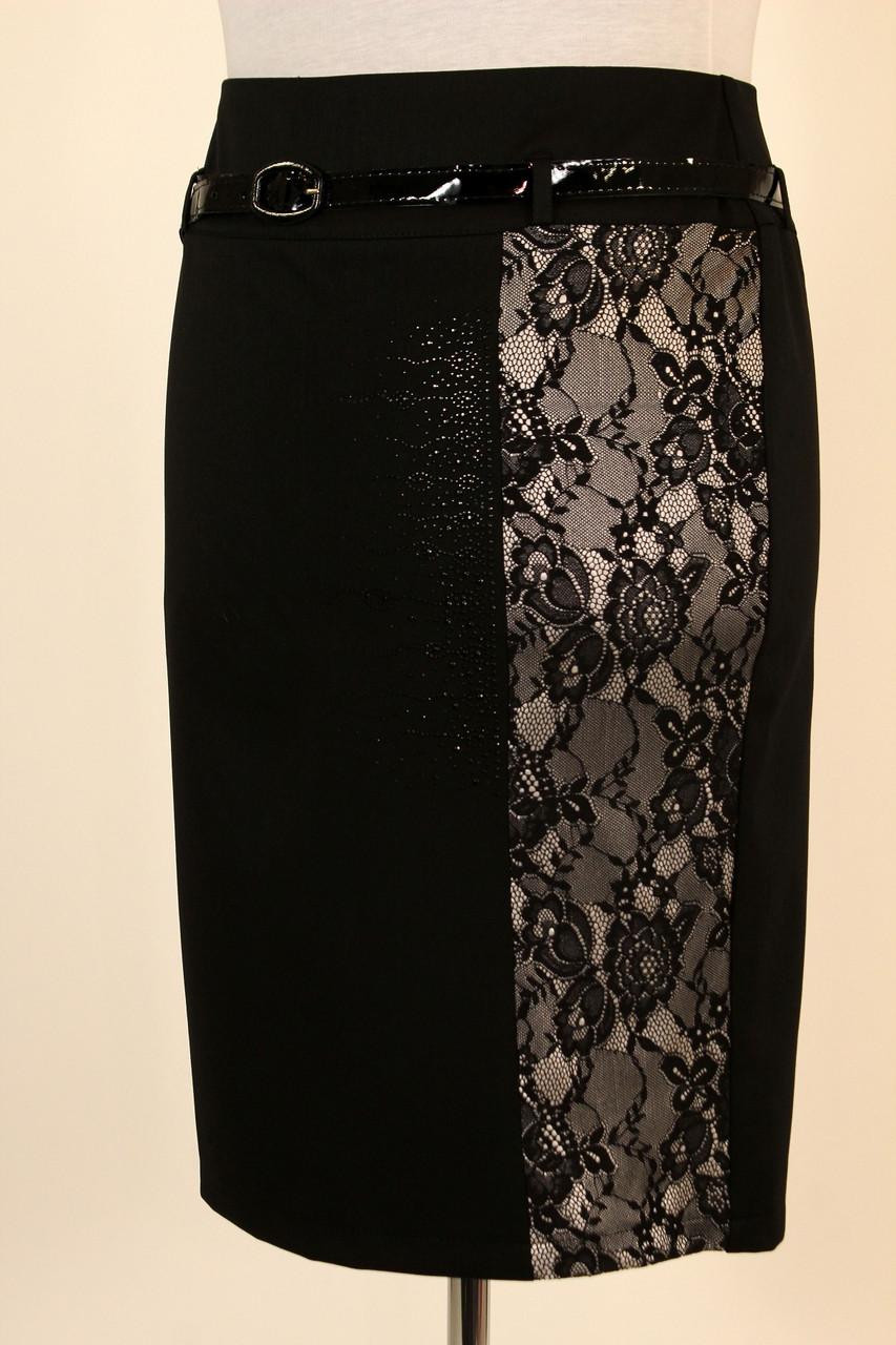 Черная юбка карандаш с гипюром 50 р