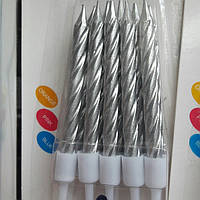 Набір свічок срібло 10 шт.