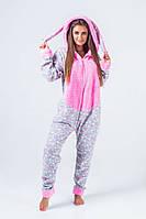 Теплая женская пижама-комбинезон с ушками, фото 1