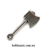 """Метал. подвеска """"топор"""" серебро (1х2,5 см) 8 шт в уп."""