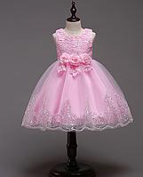 Платье нежно-розовое короткое пышное нарядное для девочки , фото 1
