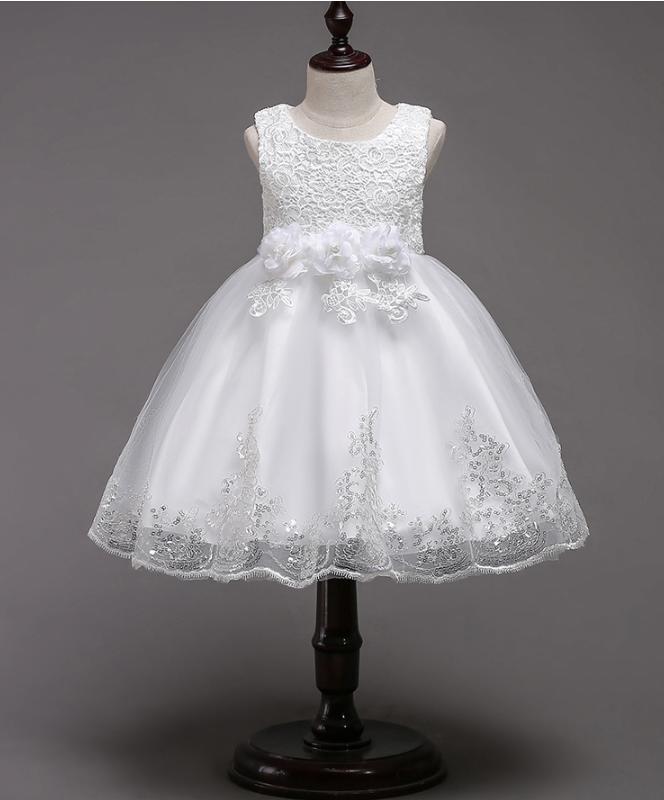 Платье белое короткое пышное нарядное для девочки