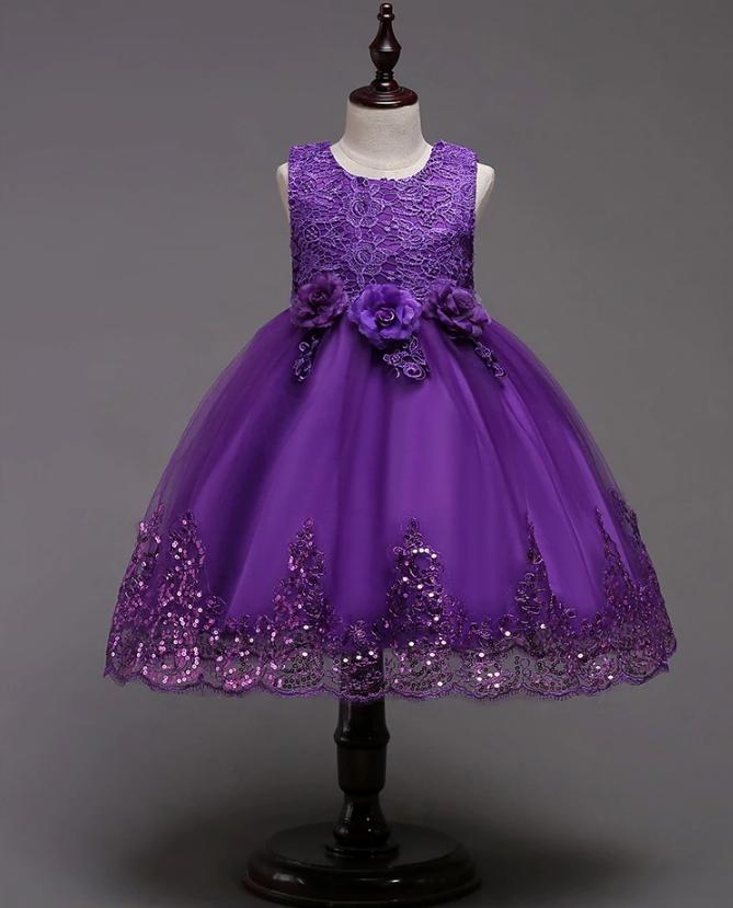 Платье фиолетовое три розы за колено пышное нарядное для девочки