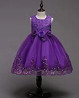 Платье фиолетовое три розы за колено пышное нарядное для девочки, фото 1