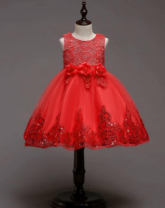 Платье красное короткое пышное нарядное для девочки