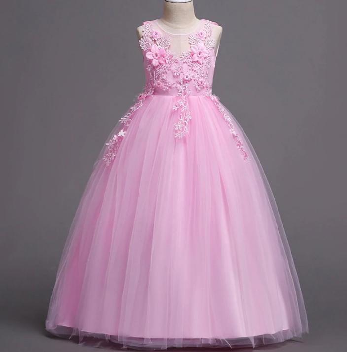 Платье нежно-розовое бальное выпускное длинное в пол нарядное для девочки в садик или школу
