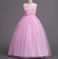 Платье нежно-розовое бальное выпускное длинное в пол нарядное для девочки в садик или школу, фото 1