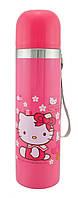 Детский термос Hello Kitty 500мл металлический Pink з ромашками