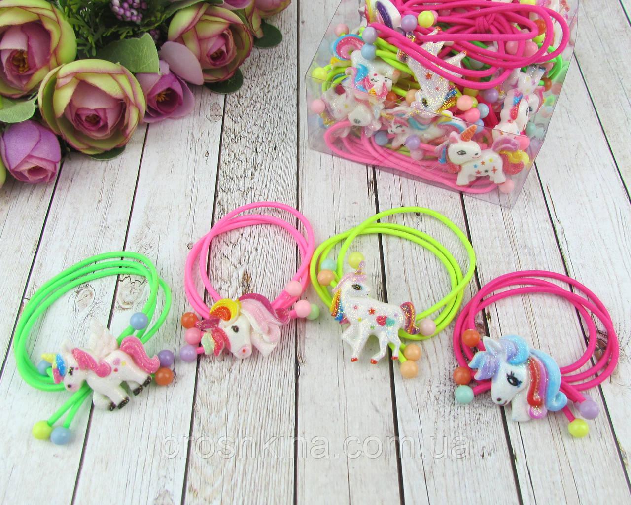 Детские резиночки для волос Единороги цветные 24 шт/уп.