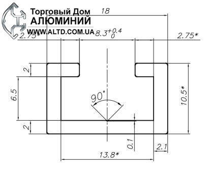 T-track профиль алюминиевый 18х11 под болт М8, фото 2