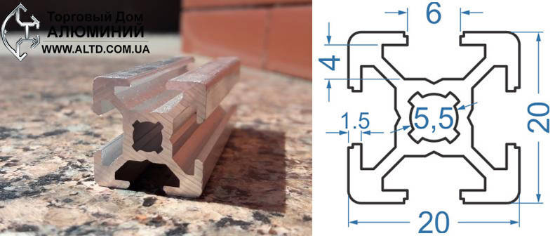 Станочный профиль | Конструкционный, без покрытия, 20х20, фото 2