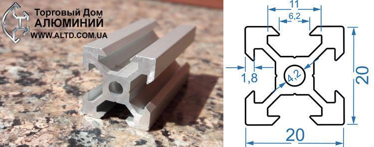 Станочный профиль | Конструкционный, без покрытия, 20х20 V-образный, фото 2