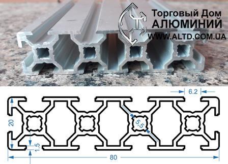 Станочный профиль | Конструкционный, без покрытия, 20х80