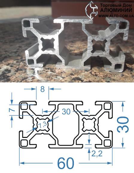 Станочный профиль   Конструкционный, без покрытия, 30х60