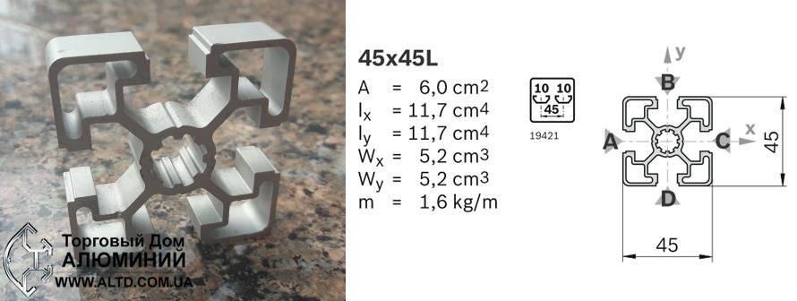 Станочный профиль | Конструкционный, без покрытия, 45х45, фото 2