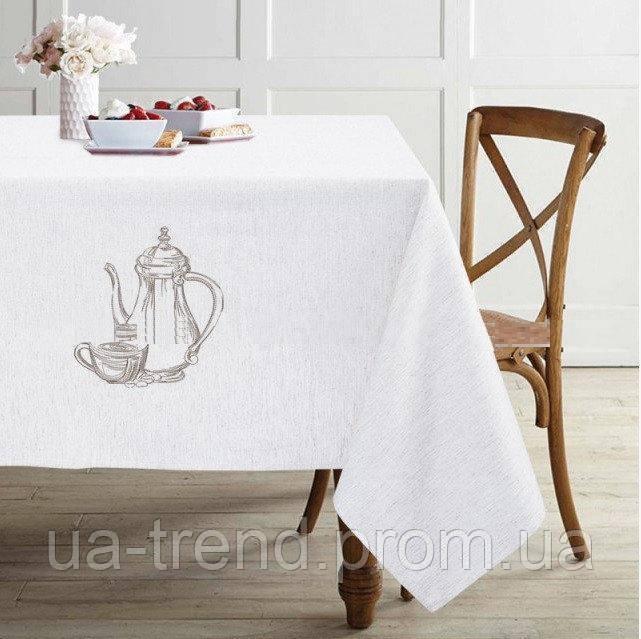 Скатертина білий льон 150x225