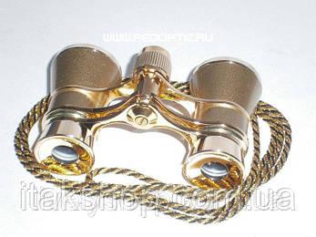 Бинокль 3х25 театральный Gold (золотистый) с цепочкой, фото 2
