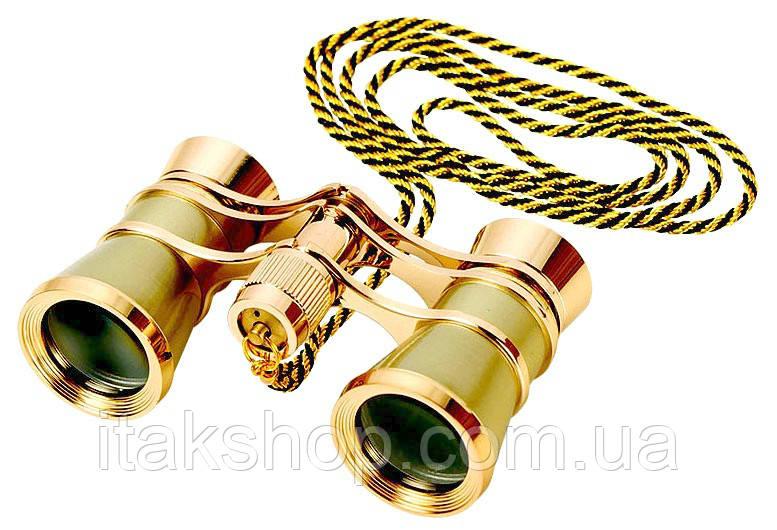 Бинокль 3х25 театральный Gold (золотистый) с цепочкой