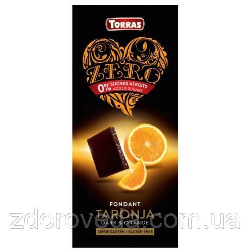 Черный шоколад с Апельсином, 52% какао, без сахара, Zero Torras