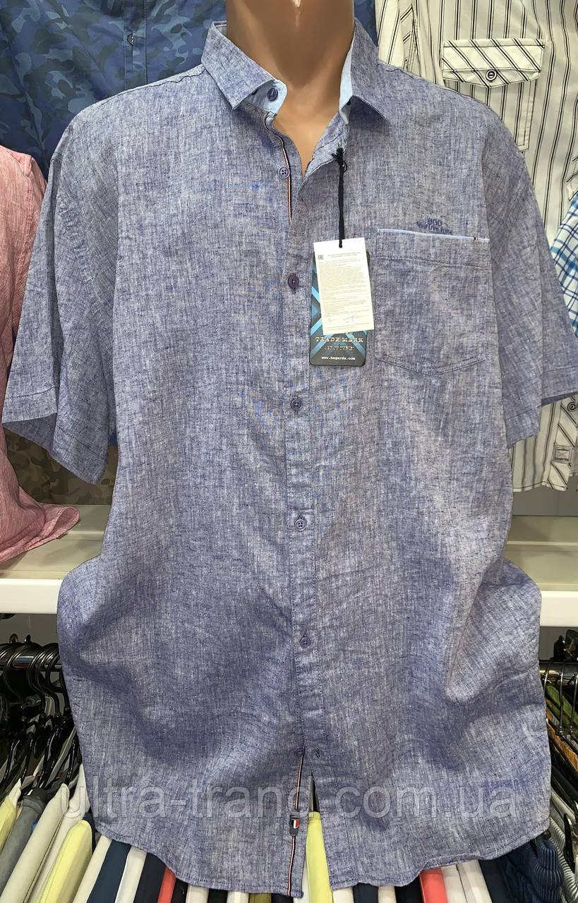 Мужские качественные летние льняные турецкие рубашки сорочки большие размеры