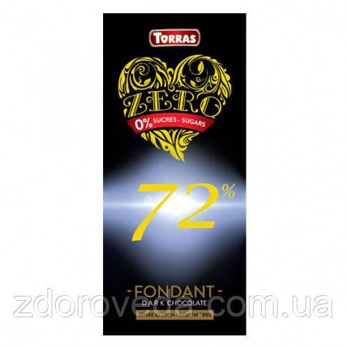Черный шоколад, 72% какао, без сахара, Zero Torras
