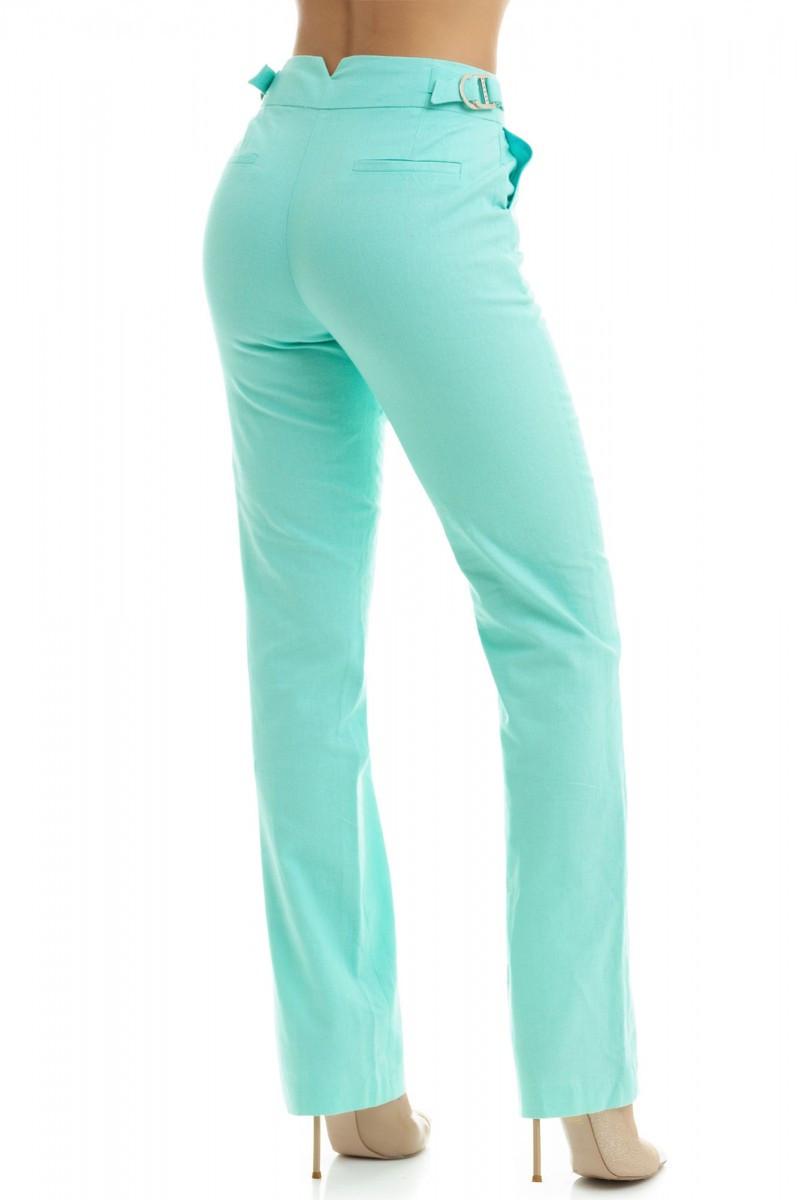 Стильные льняные брюки,мятного цвета 40,42,44,46,48,50,52