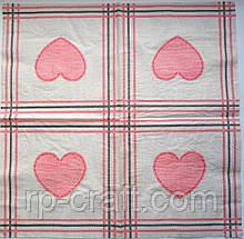Серветка для декупажу. Рожеві серця, 33х33 см