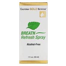 "Спрей для свежести дыхания California Gold Nutrition ""Breath Refresh Spray"" вкус мяты, без спирта (30 мл)"
