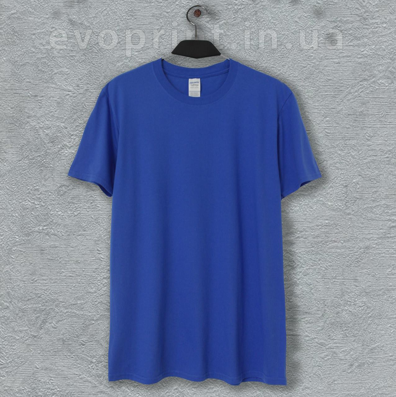 Мужская футболка однотонная ярко синяя