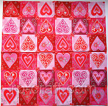 Серветка для декупажу. Серце в квадратиках, 33х33 см