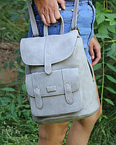 Городской молодежный женский модный стильный рюкзак сумка серый, фото 3