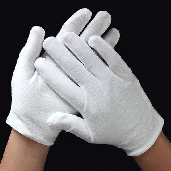 Белые хлопчатобумажные + эластан перчатки - женские (размер M).