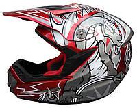 Мотошлем кроссовый FXW HF-117 Красный с серым рисунком