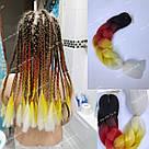 Канекалон огненный омбре, яркие косы для причёсок, фото 3