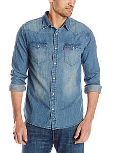 Рубашка джинсовая Levi's Men's Standard Barstow Denim Western Snap-Up Shirt new