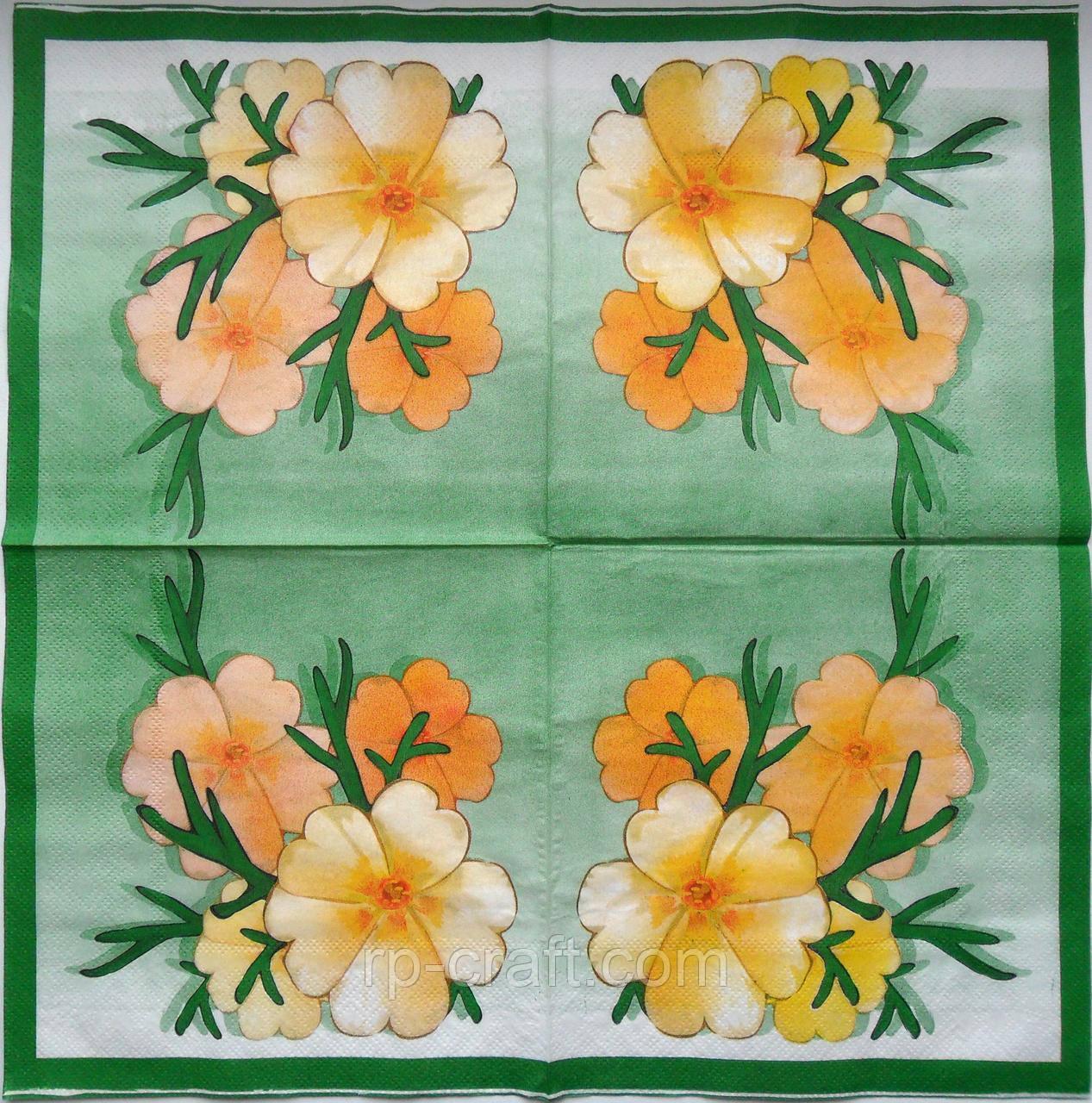 Серветка для декупажу. Квіти, 33х33 см